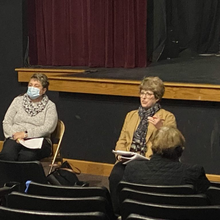 State Senator Cindy O'Laughlin (right) speaks during a town hall forum held Friday, Oct. 16 in Shelbina. On the left is Shelby County Health Department Administrator Audrey Gough. Photograph by Marlana Smith