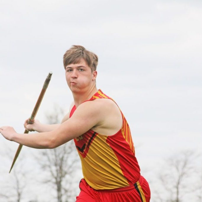 North Shelby's Noah Greenwell set a new school record in the javalin during a meet at Atlanta on Wednesday, April 14. Greenwell is shown above practicing during the team's picture day April 16 at the school. Photograh by Troy Treasure