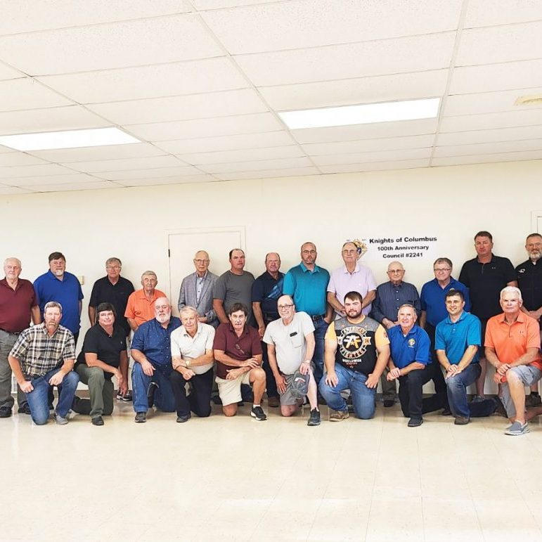 Knights of Columbus Council 2241 of St. Mary's Parish in Shelbina celebrated its 100th Anniversary on Saturday, August 21. They celebrated with a dinner and dance at the Father Buhman Center at St. Mary's Parish. Knights of Columbus Council 2241 was formed on February 27, 1921. Front row, from the left: Dale Durbin, Joe Dimmitt, Pat Heathman, Tom Shively, Al Dimmitt, Steve Smith, Morgan Ratliff, Larry Mitchell, Rex Weatherford, Paul Jarboe and Pat Greenwell. Back row, from the left: Steven Greenwell, Ronnie Porter, Father Bill Peckman, Maurice Eagan, George Broughton, John DeGraff, Ben Ratliff, Mike Buckman, Daniel Dovin, Gale Buckman, George Wilt, Glenn Eagan, Tom Elsen, Scott Gough and Tom Westhoff. An article can be read on page 3. Photograph submitted